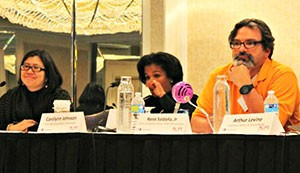(from left to right) Phoebe Yeh, Carolynn Johnson, René Saldaña, Jr.